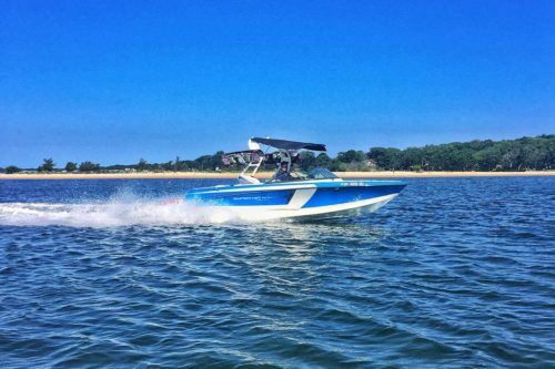 Peconic Water Sports Blue Super Air Nautique Rental Boat in the Hamptons near the North Fork of Long Island, NY
