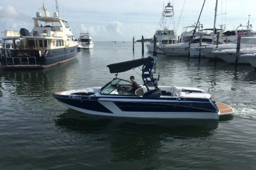 Peconic Water Sports Super Air Nautique Wakeboarding Charter Boat in the Hamptons outside Sag Harbor in Long Island, NY