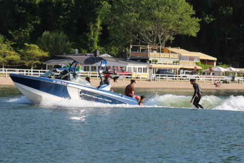 Wakesurfing in the Hamptons at Sunset Beach Shelter Island with Peconic Water Sports