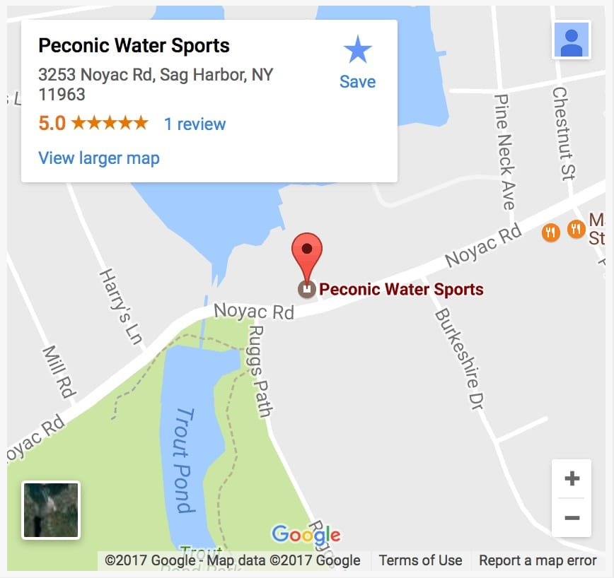 Peconic Water Sports Sag Harbor Boat Charter Location