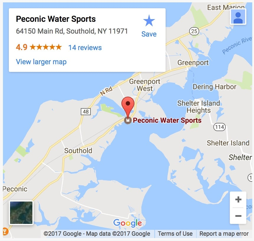 Peconic Water Sports Sag Harbor Boat Charter Location on the North Fork of Long Island, NY
