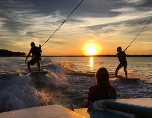 Sunset Wakesurfing in Noyack Sag Harbor Long Island