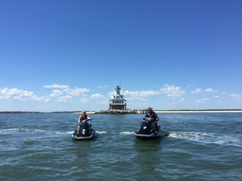 Peconic Water Sports Jet Ski Tour at Bug Lighthouse near Orient Point in Long Island, New York on Yamaha Waverunners in the Summer of 2016