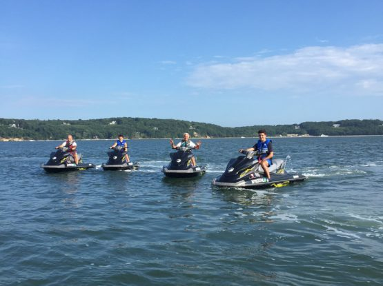 4 Yamaha Rental Waverunners on a tour with Peconic Water Sports going around Shelter Island near Sag Harbor, New York