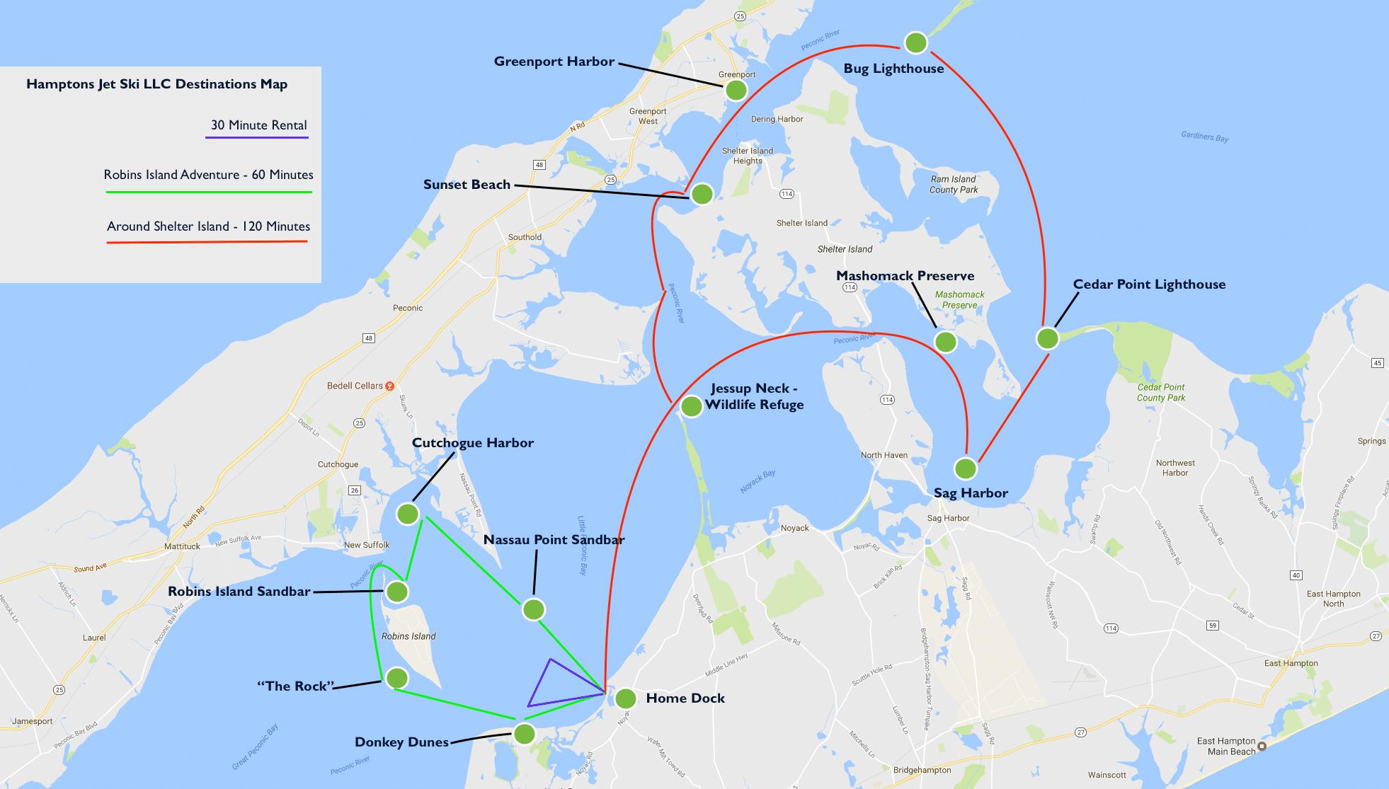 Jet Ski Tour Map for Peconic Water Sports - Hamptons Jet Ski Rentals