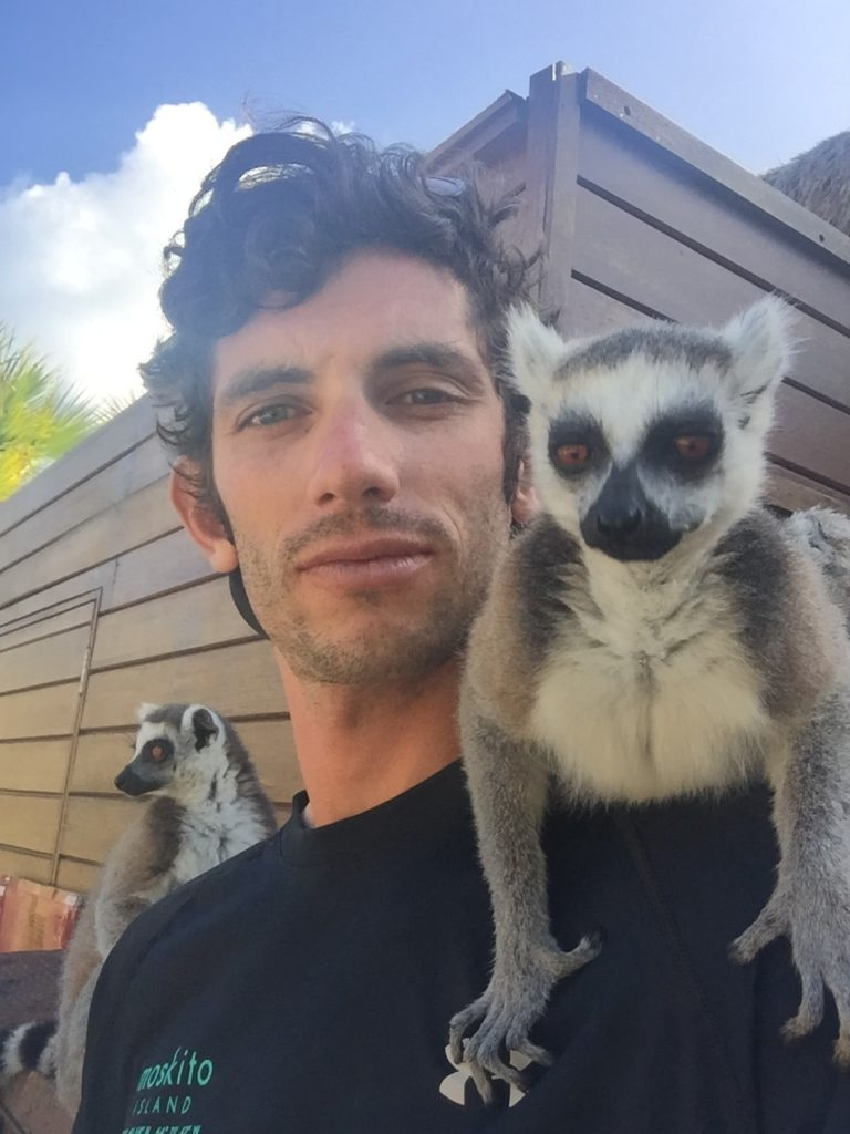 Dominic Cannistra- Boat Captain for Peconic Water Sports in the Hamptons with some Lemurs while working as a kiteboarding coach in the British Virgin Islands