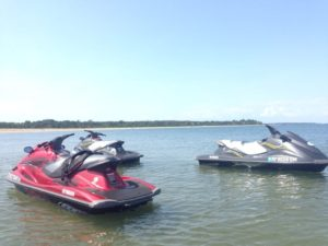 jet skis from peconic water sports at menhadden lane beach shelter island, new york