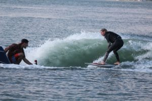 Wakesurfing wave behind peconic water sports boutique in the hamptons
